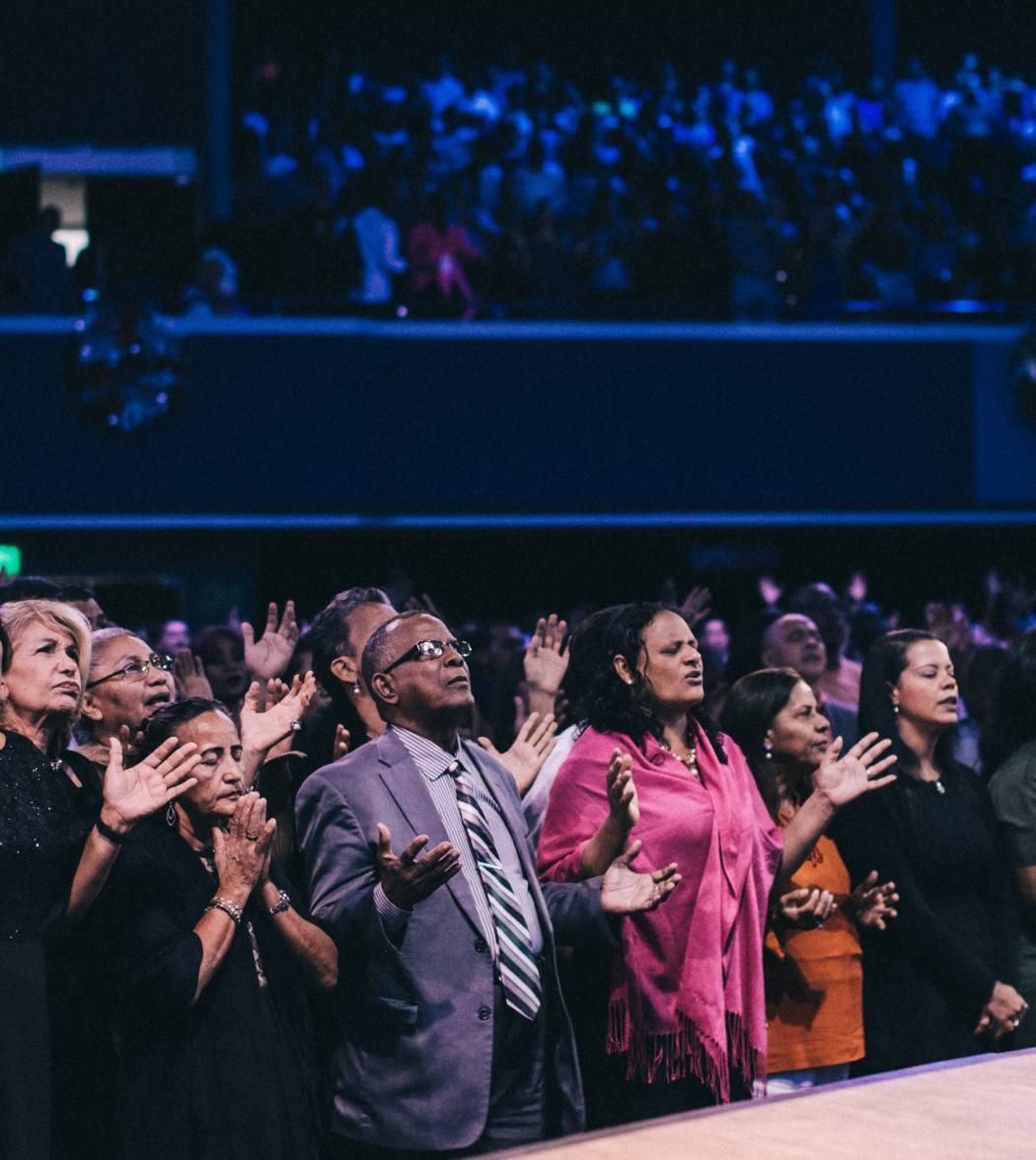 Worship service at a mega church